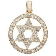9ct Gold Cubic Zirconia Star of David pendant in circle